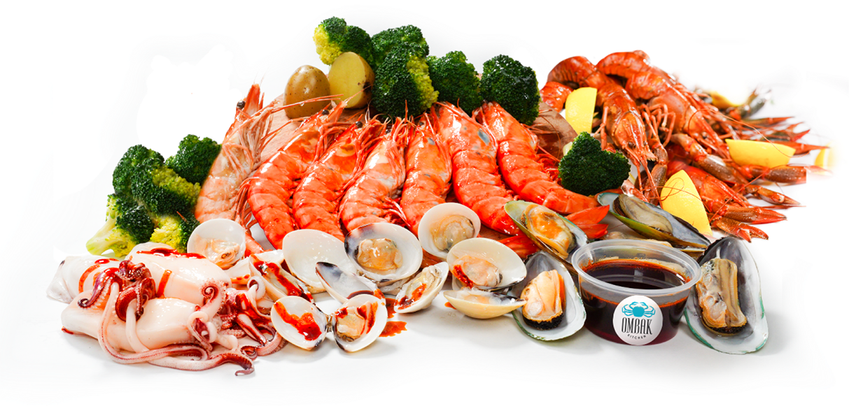 Cajun seafood spread filled with fresh crawfish lobster, lobster claw, snow crab, oysters, corn on a cob and prawn dipped in a delicious, finger-licking sauce.
